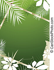 Tropical Background - Green tropical background with bamboo...