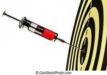 Syringe, injected into a target - The syringe of a doctor in...