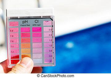 chlor, zadowolenie, ph, kałuża, woda, Probierczy