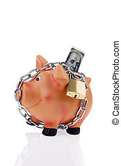 Piggy bank with money and the dollar chain