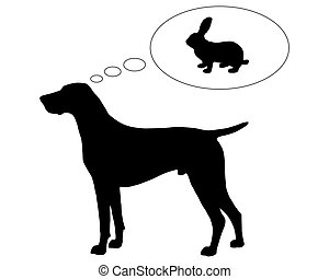 The black silhouette of a German Shorthaired Pointer dreaming of a bunny