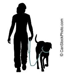 perro, entrenamiento, (Obedience):, Command:, ir, leash!