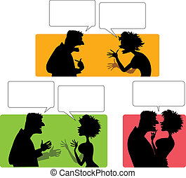 Silhouette of emotional couple - Vector cartoon from...