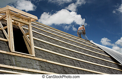 carpenter roofing a barn - carpenter roofing an old red barn...