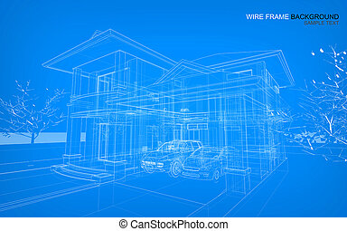 Wire frame background of house