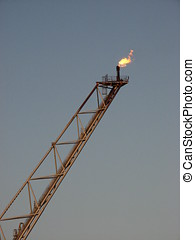 Flare stack - The flare stack of an oil rig