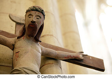 old wooden christ - 15th century wooden christ sculpture,...