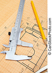 mechanical circuit, a ruler, compass, calipers