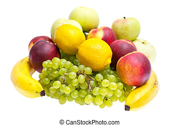 apples, peaches, bananas, grapes on a white