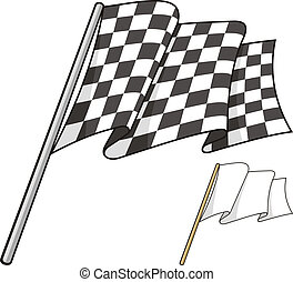 Checkered flag - Waving checkered flag isolated on white...