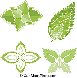 Mint leaves icons - Four green mint leaves icons isolated on...