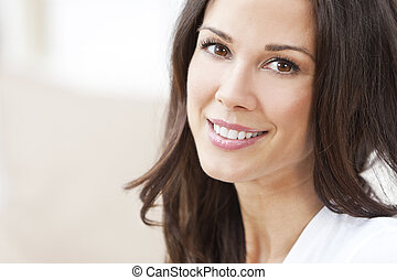 bonito, Feliz, sorrindo, morena, mulher