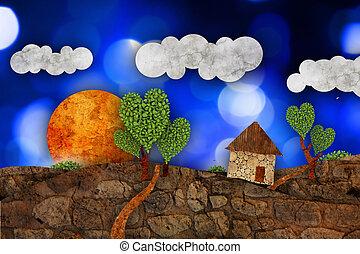 Suburban landscape, illustration - Suburban landscape with...