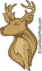 Deer head illustration with brown tones isolated on white...