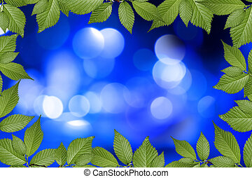 blue abstract background with plant frame