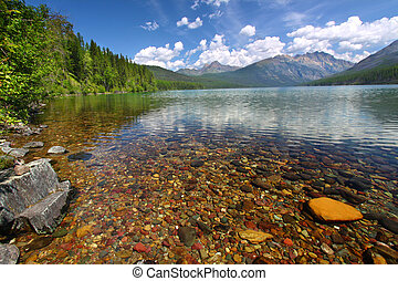 Kintla Lake Shoreline - Glacier NP - Brightly colored rocks...