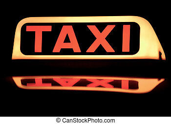 Black taxi sign - with reflection