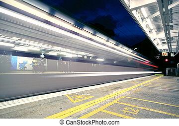 traffic tram at night