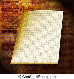 Torn yellow sheet on the abstract paper background
