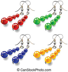 vector set womens jewelry, earrings with stones - womens...