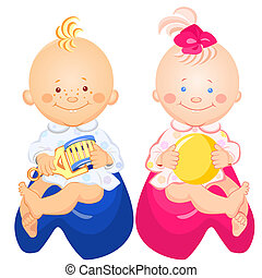 vector baby boy and girl are sitting on the pots - little...