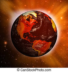 Planet Earth showing North America with Global Warming -...