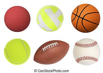 Sports balls - Six sports balls including a dodgeball,...