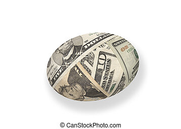 Money nest egg - A young money nest egg isolated on white...