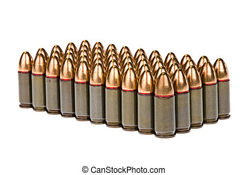 Rows of bullets - Rows of 45 caliber bullets isolated...