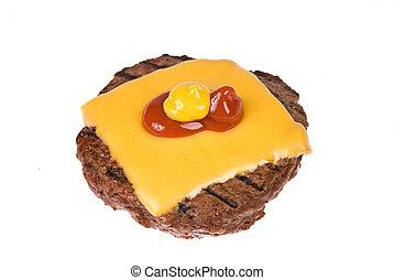 Hamburger patty with cheese, mustard and ketchup - A thick,...
