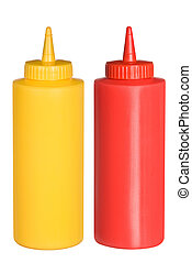 Ketchup and mustard squeeze bottles - Isolated bottles of...