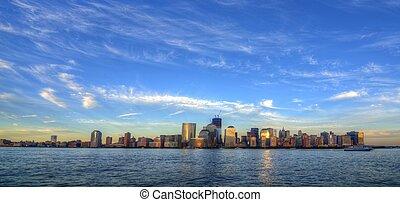 New York City - Downtown Manhattan skyline with landmark...