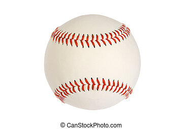 Baseball - A new baseball isolated on white with red...
