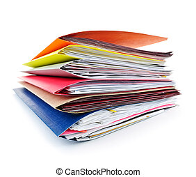 Folders with documents - Stack of colorful file folders with...