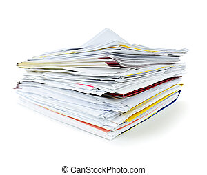 Folders with documents - Stack of file folders with papers...