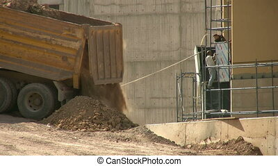 Sand truck and  construction zone