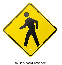 Isolated Yellow Pedestrian Warning or Safety Sign - A yellow...