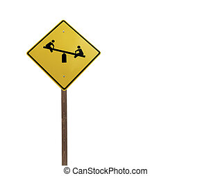 Tall Playground Sign Isolated - Tetter totter children's...