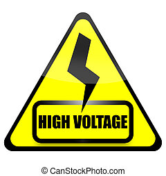 High Voltage Sign - High voltage sign with thunder isolated...