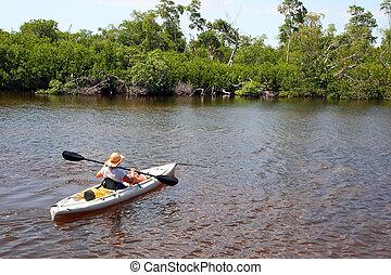 Kayaking - Woman In Kayak Darling Wildlife Refuge Sanibel...