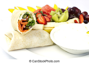 Smoked salmon wrap with assorted fruits
