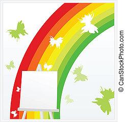 Rainbow on an easel - Easel against a rainbow and...