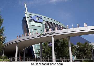 The Georgia Aquarium facade in Atlanta, Georgia USA