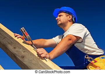 charpentier, sommet, toit, structure
