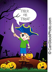 Kid in Halloween Costume - illustration of kid in costume of...
