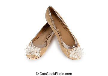 Elegant flat shoes isolated on white