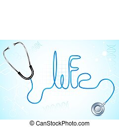 Life with Stethescope - illustration of life text written...