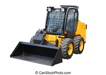 Yellow loader separately on a white background