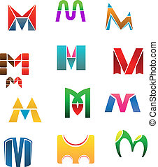 Symbols of letter M - Set of alphabet symbols of letter M