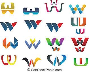 Symbols of letter W - Set of alphabet symbols of letter W